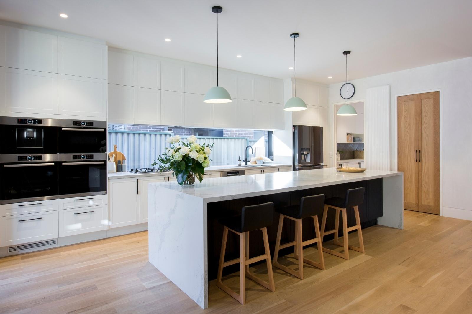 Galley Kitchen with Island Bench - Freedom Kitchens